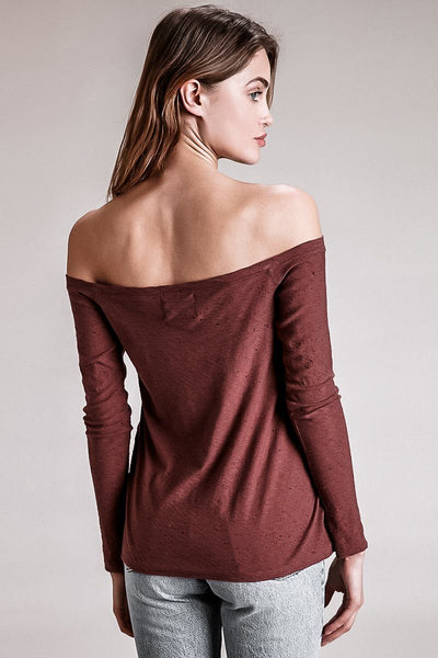CHELSEA OFF THE SHOULDER LONG-SLEEVE TEE