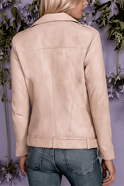 ROSEWATER PINK PEACH CULT LEATHER METALLIC MOTO JACKET