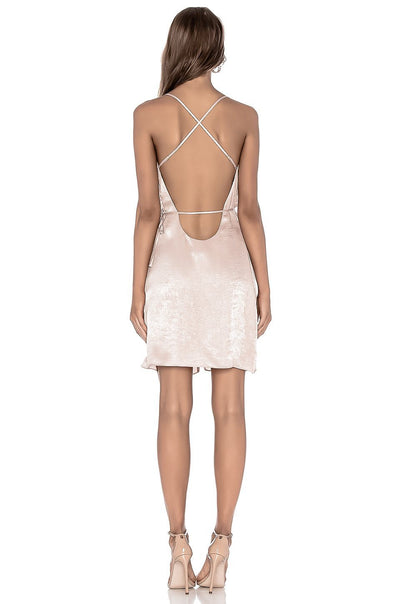 HAVEN BLUSH PINK OPEN-BACK SATEEN SLEEVELESS DRESS