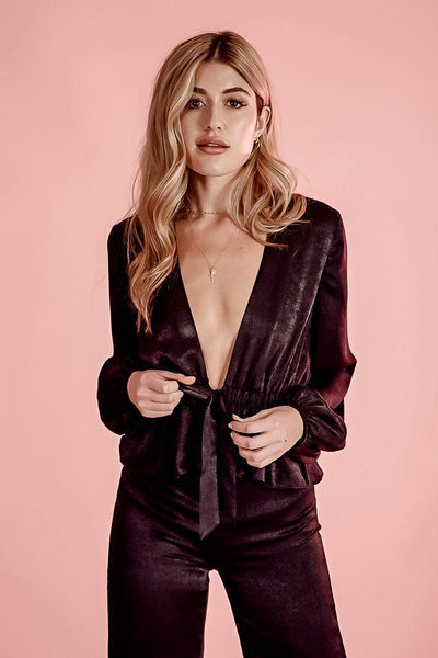 JAGGER DEEP V BLACK SATEEN LONG SLEEVE TOP