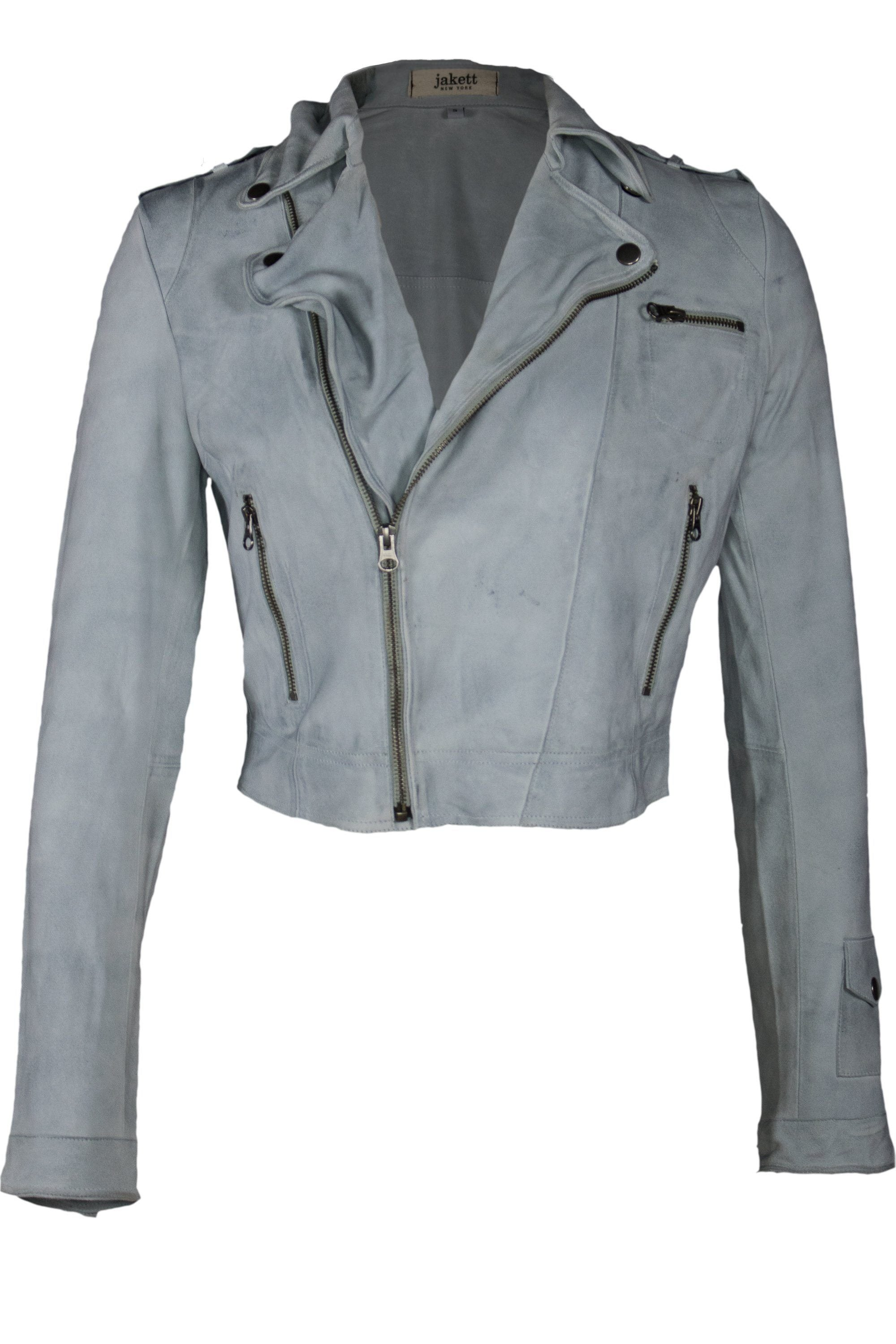 JOSEY WAXED SUEDE WASHABLE MOTO JACKET