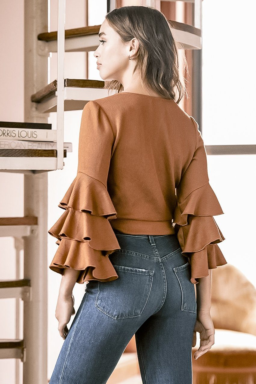 KAIA CARAMEL RIB KNIT RUFFLE SLEEVE WRAP TOP