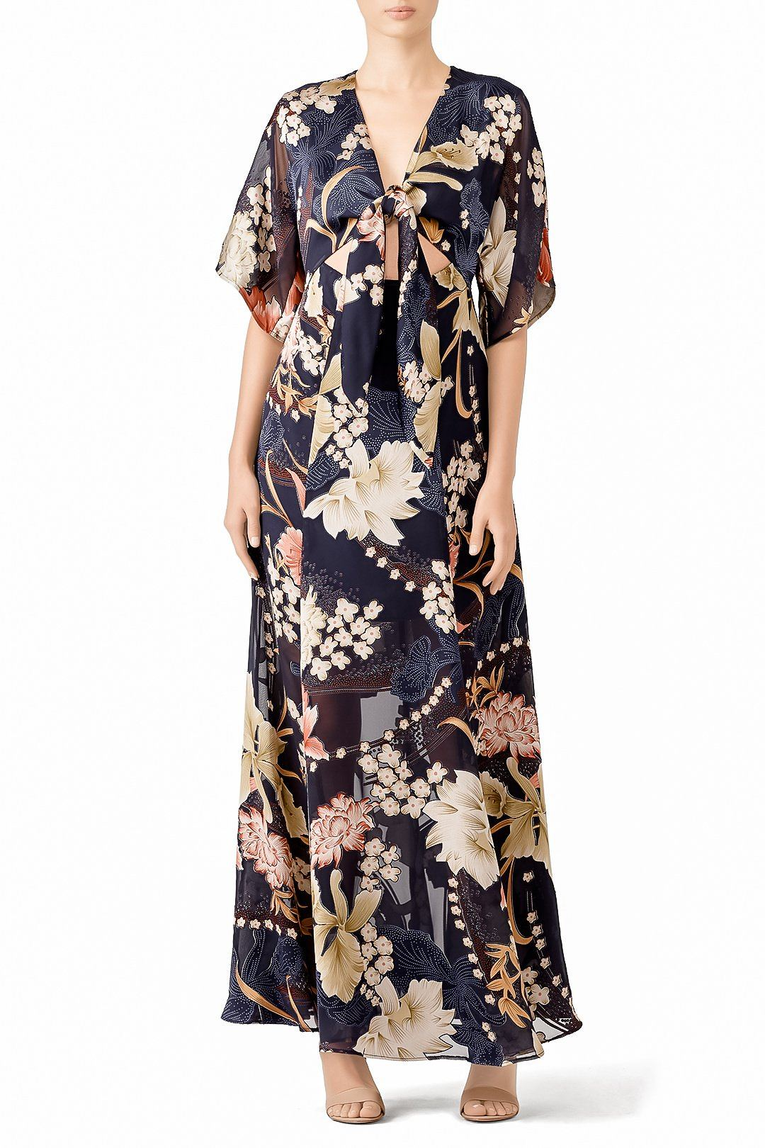 KAYLA FLORAL BURNOUT SATEEN KIMONO MAXI DRESS