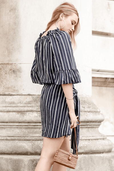 KENSINGTON SILVER STRIPE NAVY MINI DRESS