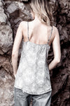 KIKI SILVER CRYSTAL SILK CAMI WITH BEADED STRAPS