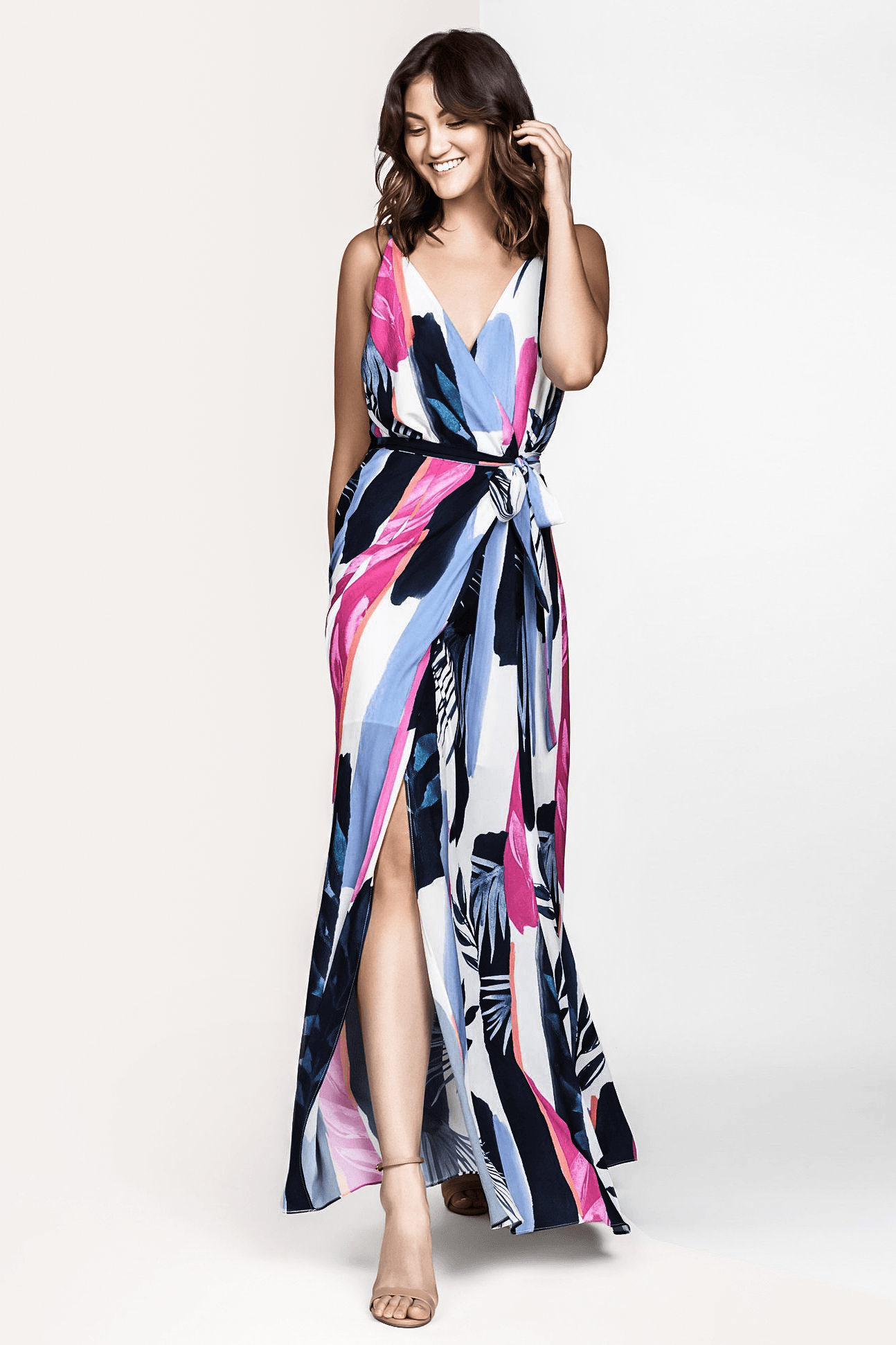 LEAH SILK PAINTERLY LEAF PRINT SLEEVELESS MAXI WRAP DRESS