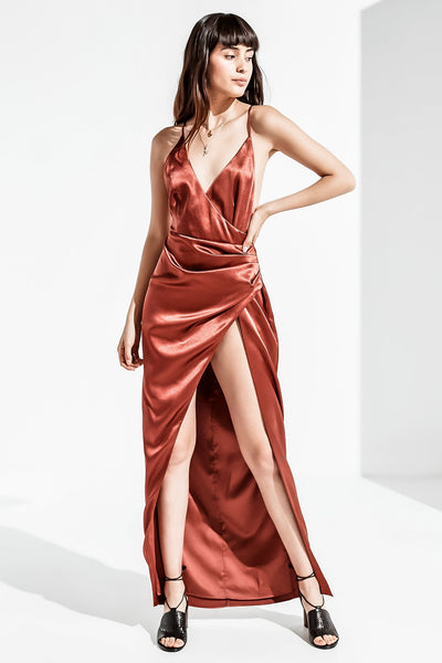 LEO FAUX WRAP OPEN BACK SATEEN MAXI DRESS