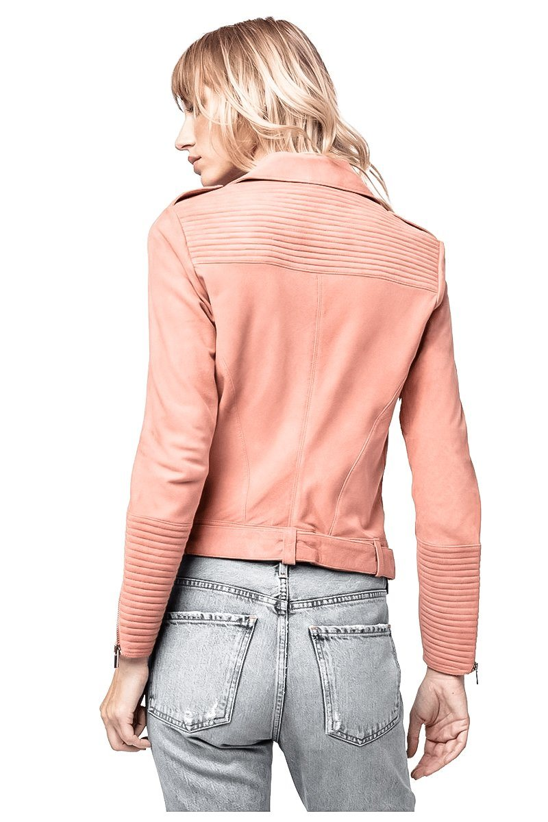 LONDON PINK SUEDE LEATHER MOTO JACKET