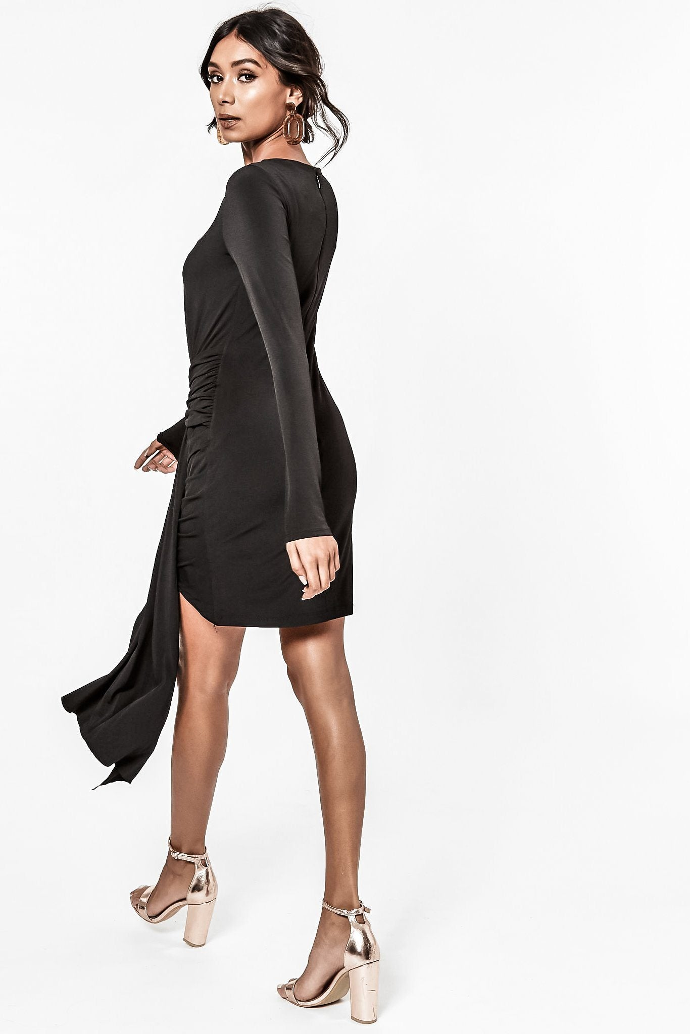 MORELLO STRETCH KNIT LONG SLEEVE BLACK MINI DRESS