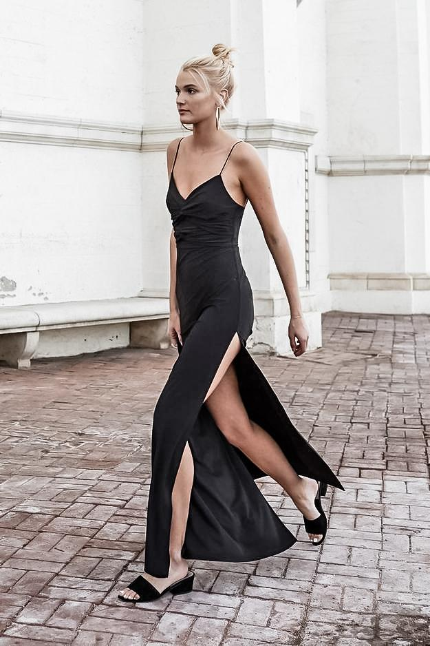 MORELLO STRETCH KNIT SLEEVELESS BLACK MAXI DRESS