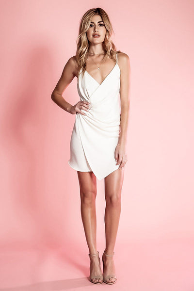 NORA WHITE FAUX WRAP SLEEVELESS V-NECK MINI DRES