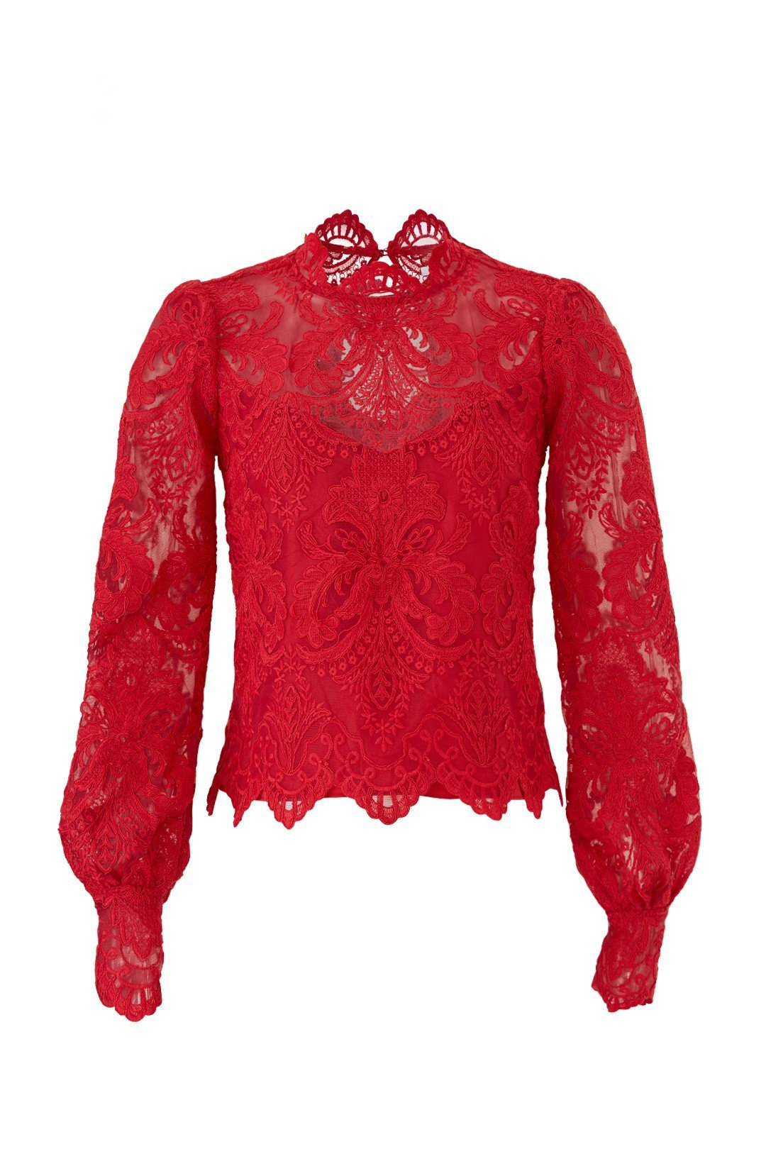 NORMA RASPBERRY LACE LONG SLEEVE OPEN BACK BLOUSE
