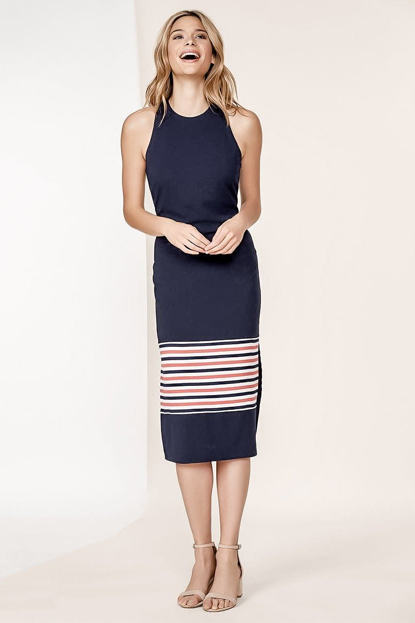 PEYTON NAVY STRIPED KNITTED SLEEVELESS MIDI SHEATH DRESS
