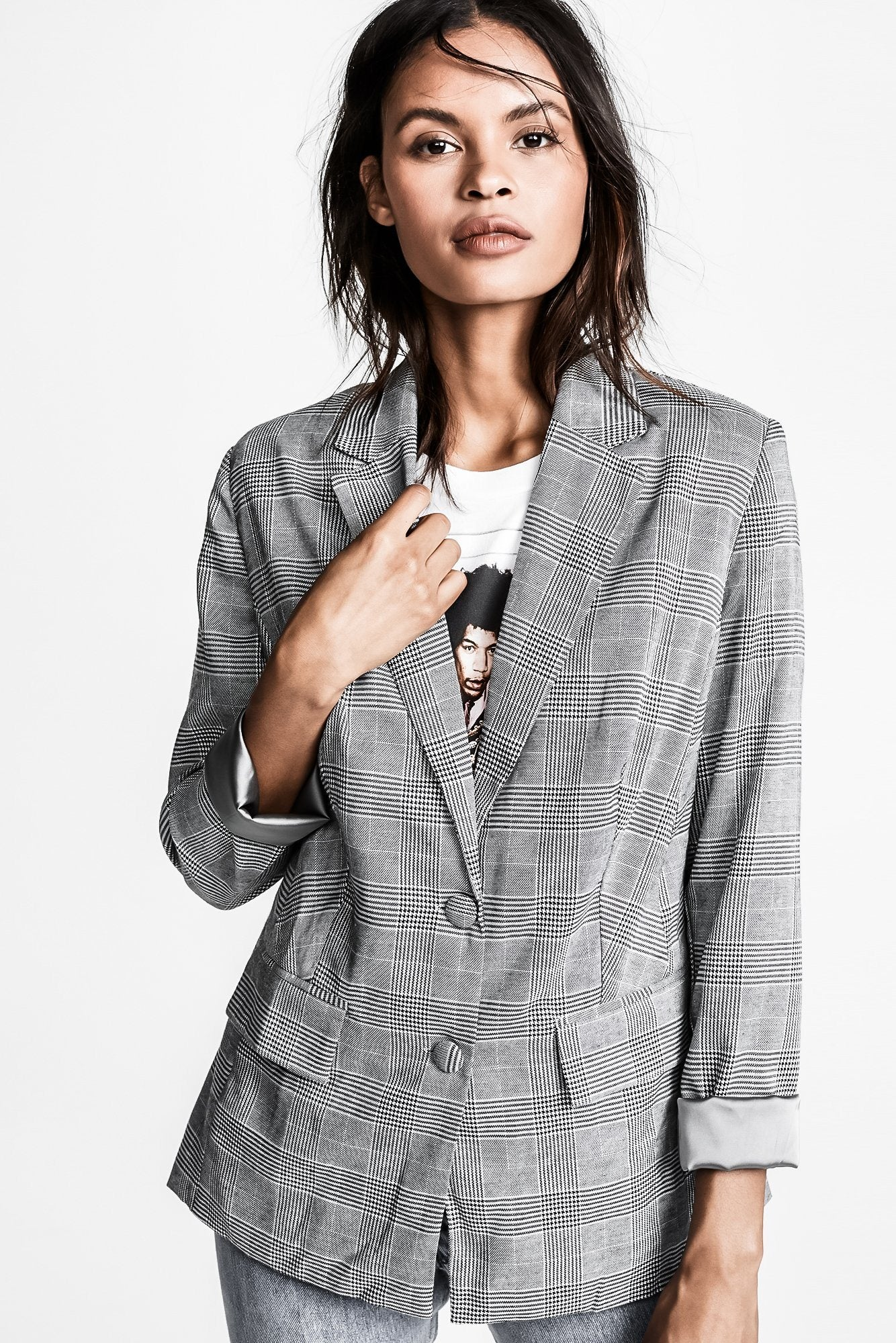 PORTMAN GREY PLAID TWO BUTTON BLAZER