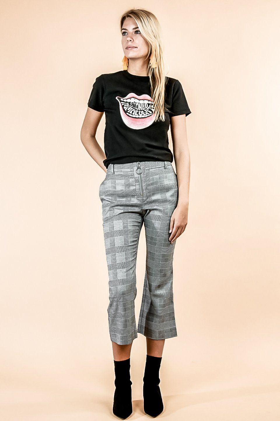 PORTMAN GREY PLAID ZIPPER SLIM FIT CAPRI TROUSER PANT