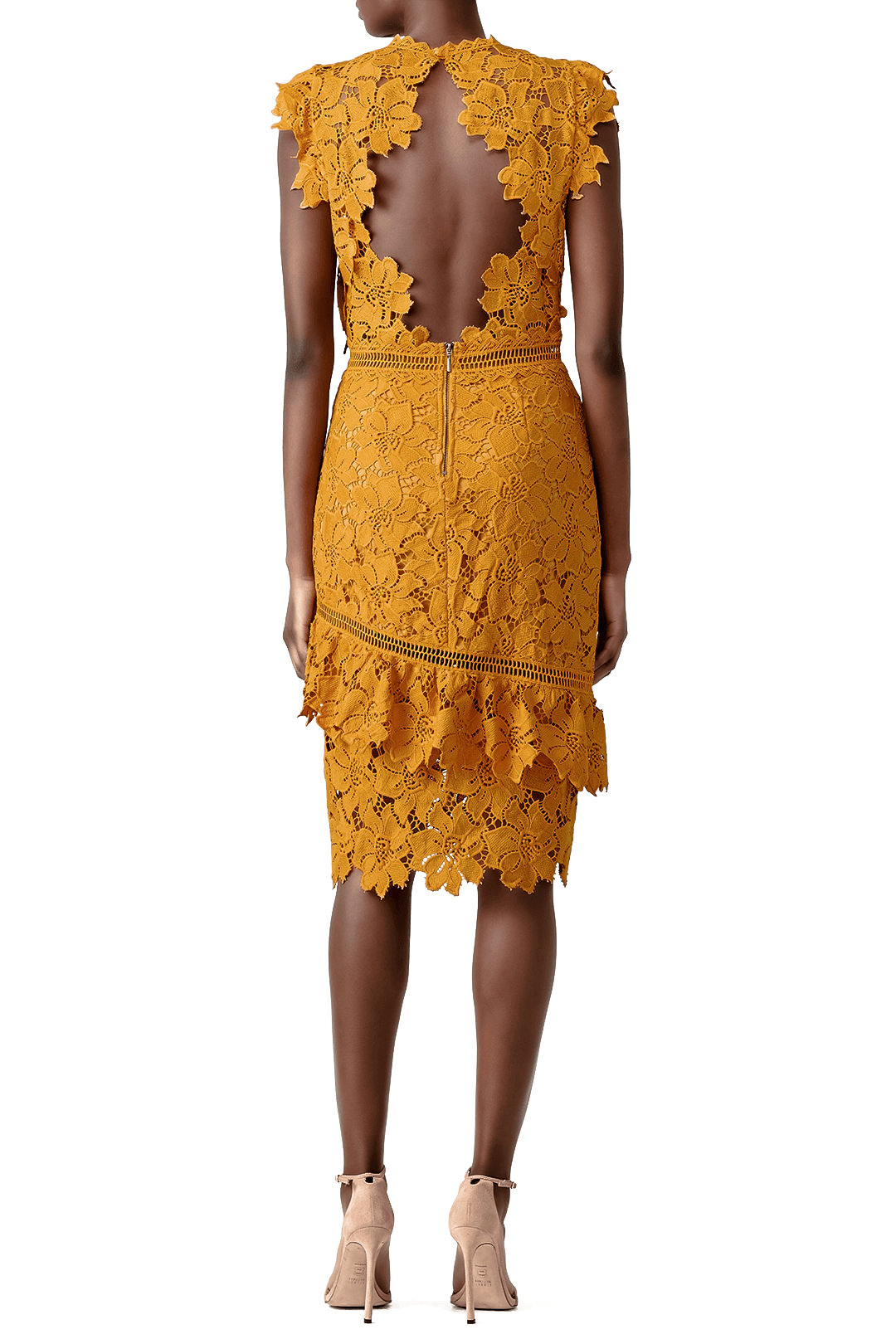 REINE MUSTARD LACE OPEN BACK SLEEVELESS MIDI DRESS