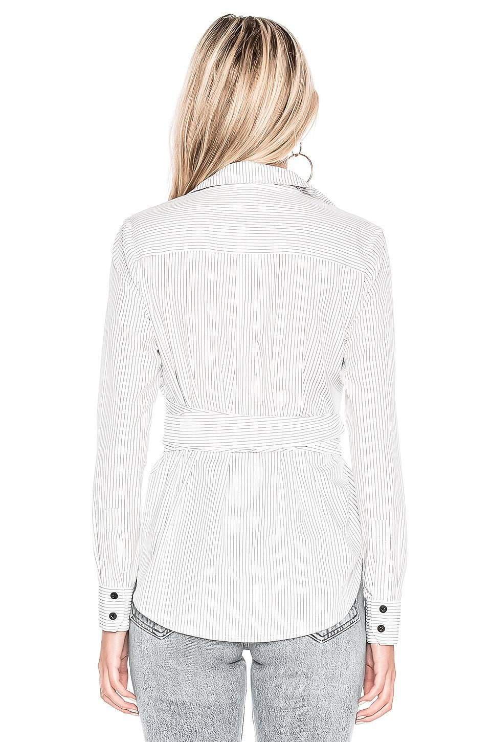RENEE PINSTRIPE BUTTON UP LONG SLEEVE WRAP BLOUSE