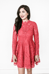 RITA RASPBERRY LACE LONG SLEEVE OPEN BACK DRESS