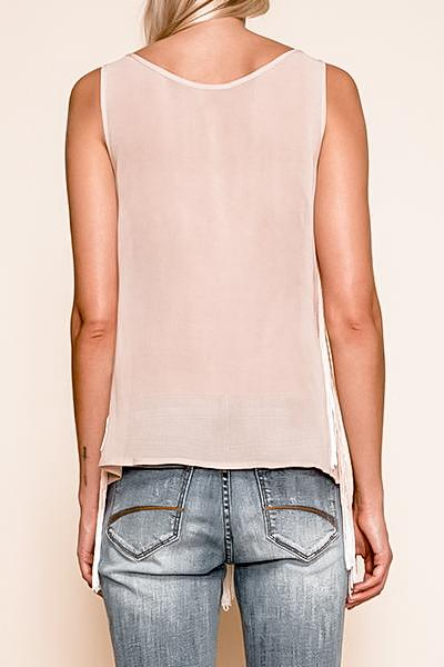 ROSE PINK FRINGE TANK TOP