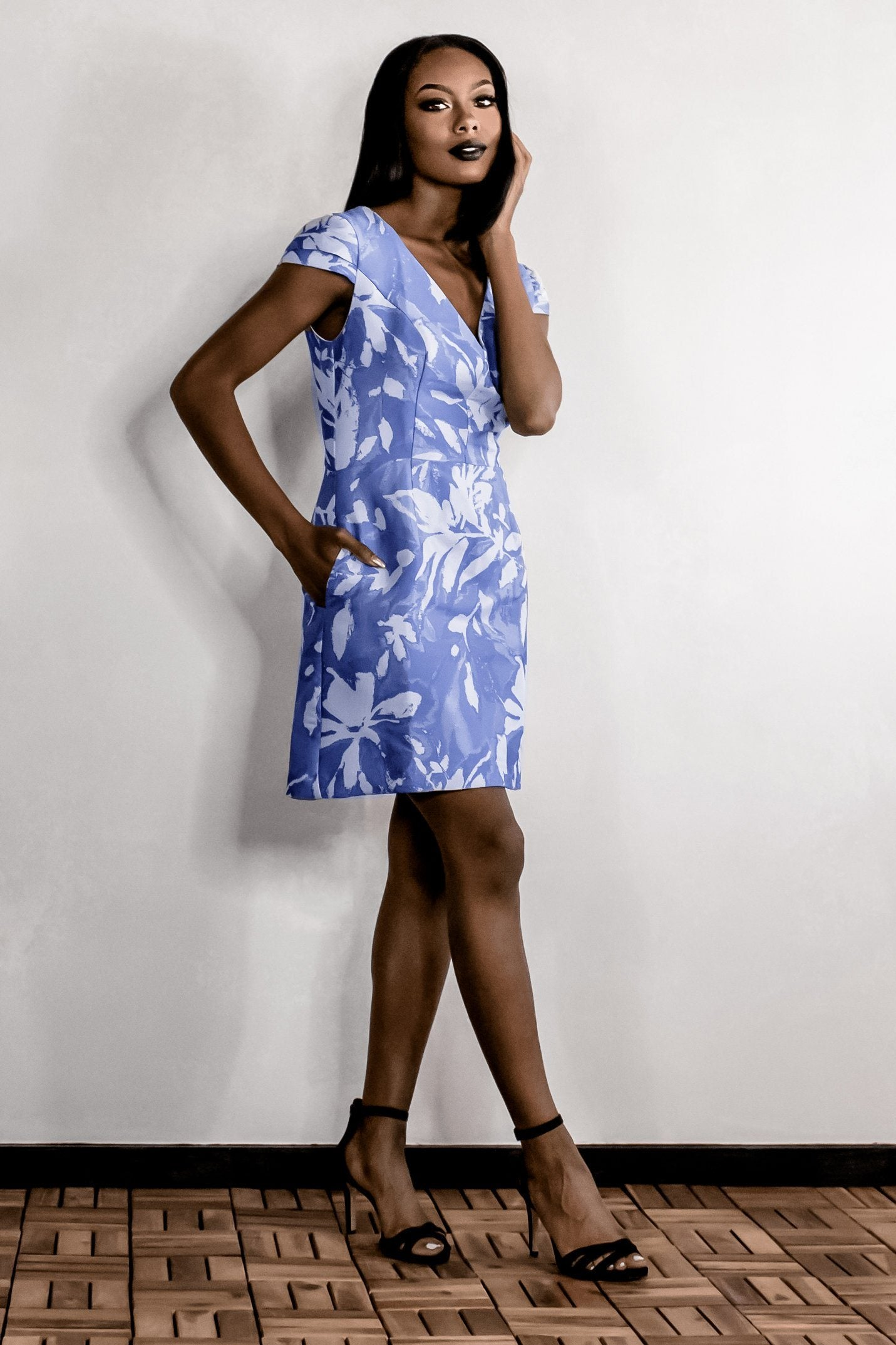 VALERIE PERIWINKLE SATEEN JACQUARD POCKETED MINI DRESS