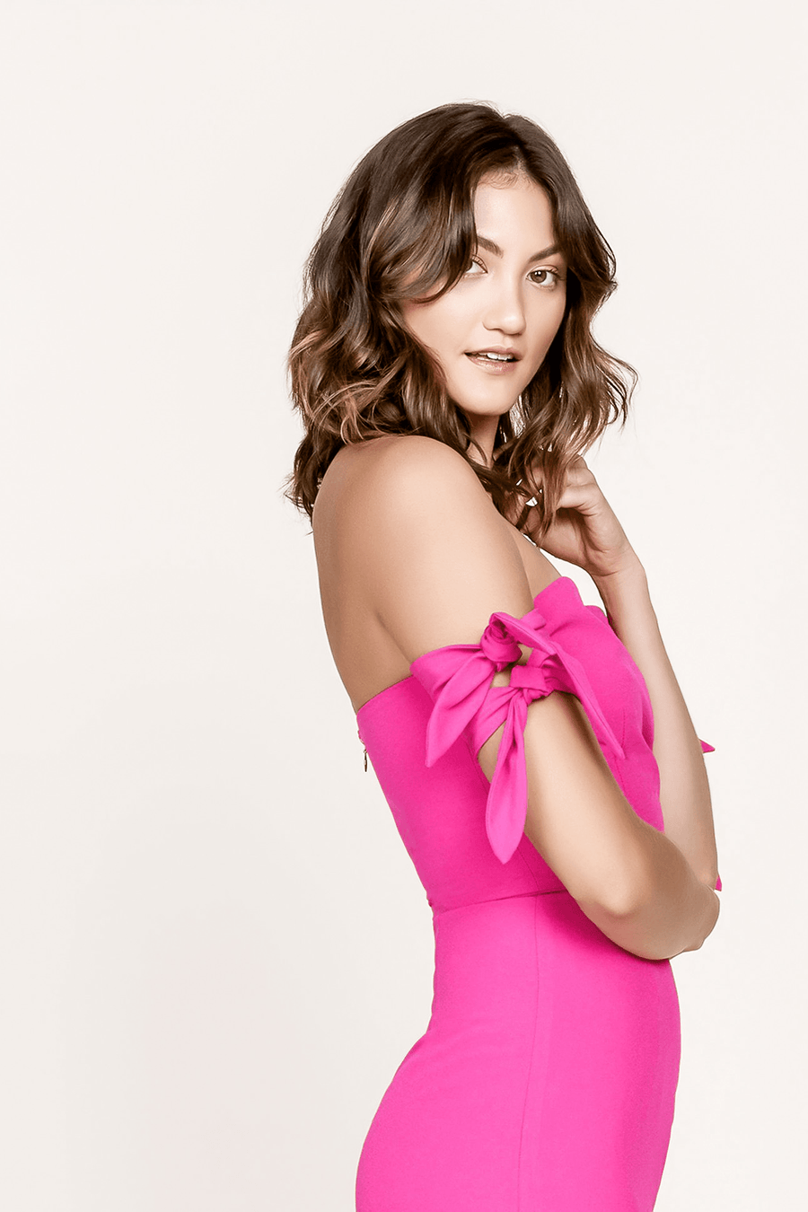 HOT PINK WREN OFF THE SHOULDER TIE DRESS