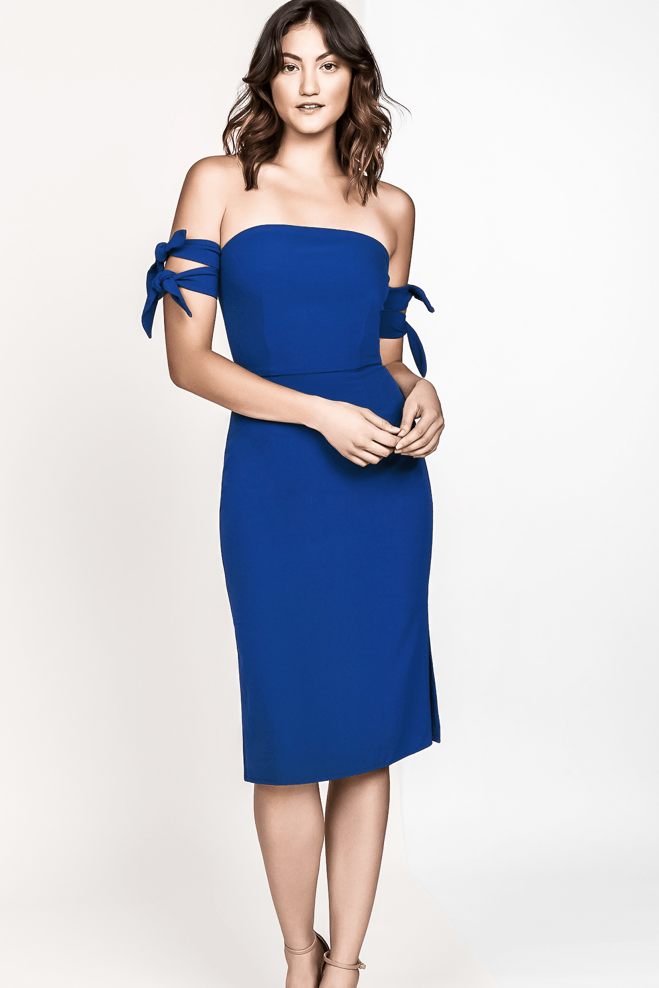 WREN OFF THE SHOULDER TIE MIDI DRESS