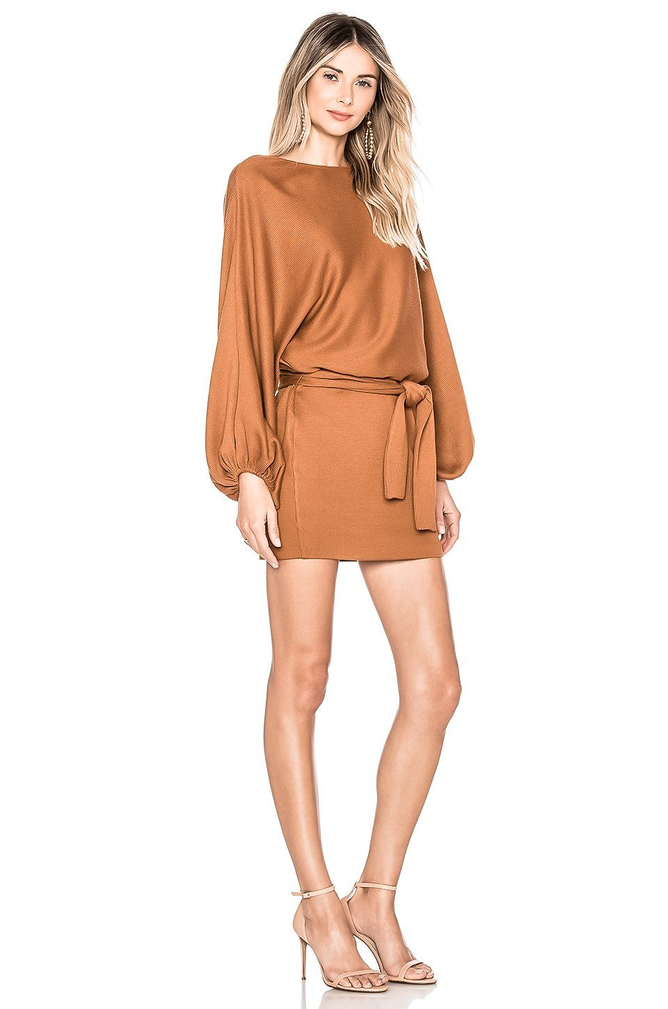 ZAHRA REVERSIBLE LONG SLEEVE DEEP V MINI SWEATER DRESS