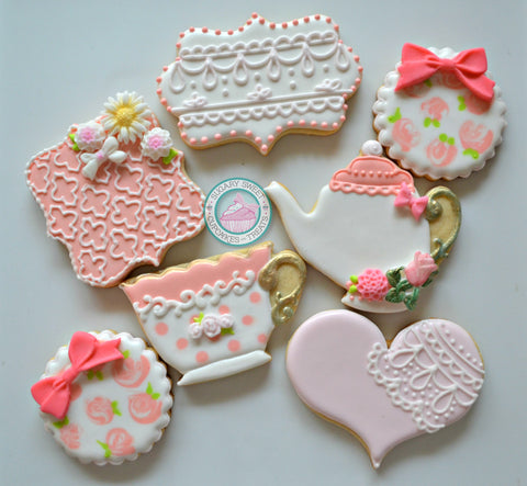 Lace Tea Party Cookies (12 cookies)