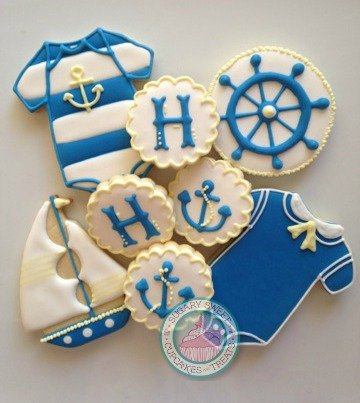 Nautical Baby Shower (24 cookies)