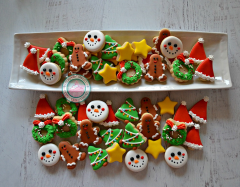 Mini Christmas Themed cookies #3 (12 cookies)