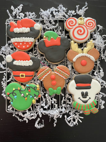 Christmas Mickey (6 cookies)