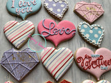 Valentine love Hearts (6 cookies)