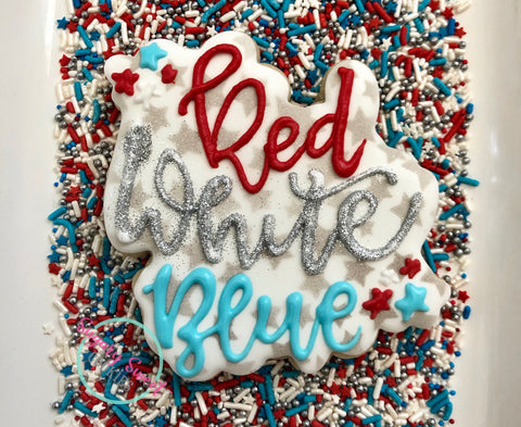 Red white and blue! (1 large cookie)