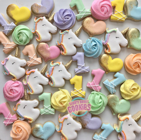 Rainbow Mini unicorn cookies (48 cookies)
