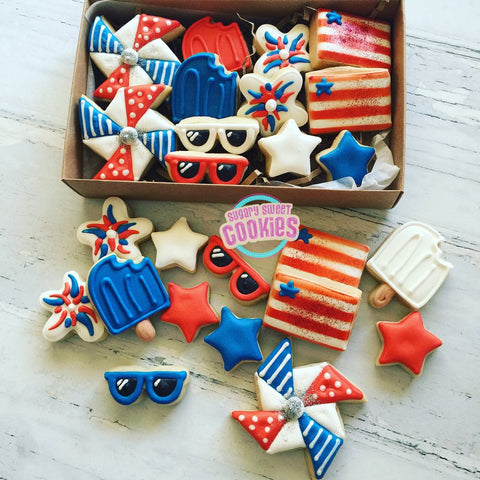 4th of July, set #2 (24 mini cookies)