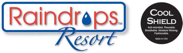 Raindrops Resort: T-shirts, Beach Cover-ups, Socks and more. Cool Shield: 2 Layer, Anti-microbial, Comfortable Face Masks