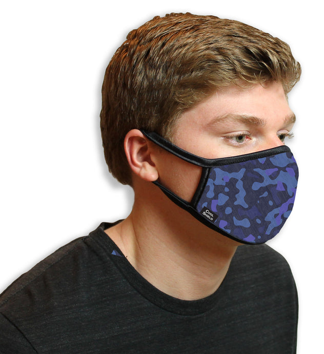 Blue Camo Cool Shield Face Mask
