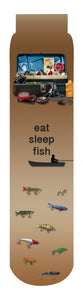 Eat Sleep Fish Crew Socks, Brown