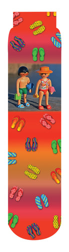 Summer Flip Flop Crew Socks, Orange Red