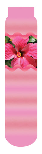 Hibiscus Adoration Flower Crew Socks, Pink