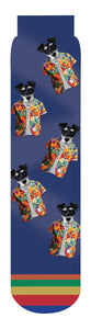 Mango Socks: Schnauzer Hang Ten, Hawaiian Shirt Dog Crew Sock, Blue