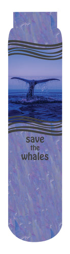 Save the Whales Crew Socks, Purple Blue