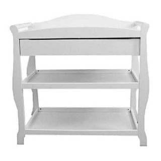 Sleigh Style Wood Changing Table With Drawer By L.A.Baby,Toddlers Buy  Here,White ...