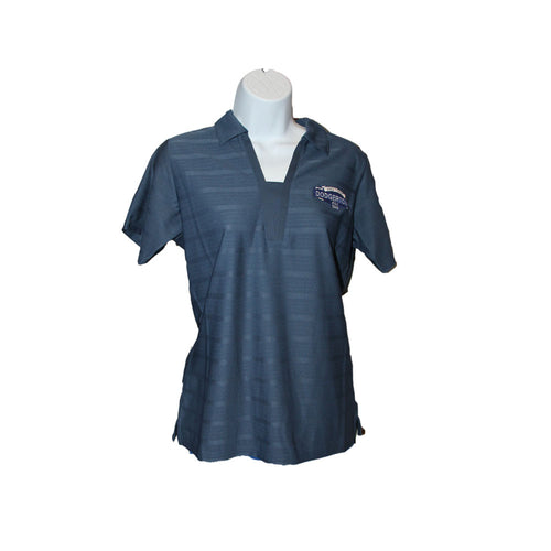 Womens short-sleeve blue polo shirt with v-neck