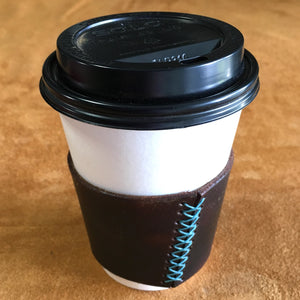 Leather Coffee Sleeve - Charlie's Brown with Turquoise Thread