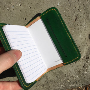 Pocket Journal - Green with Yellow Thread