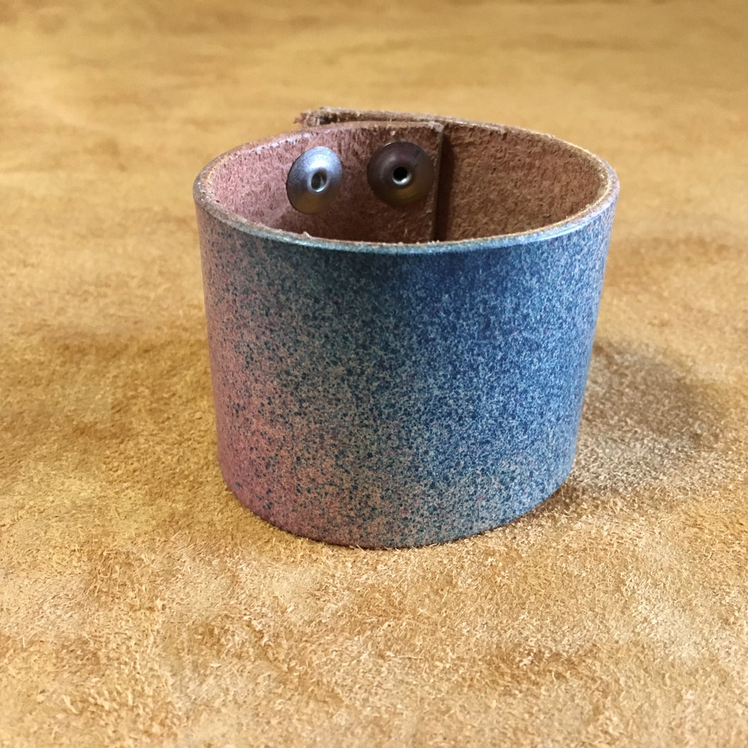 Blue and Pink Cuff with Rough Edge
