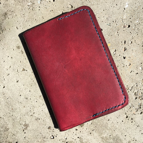 Pocket Journal - Ox Blood with Blue Thread