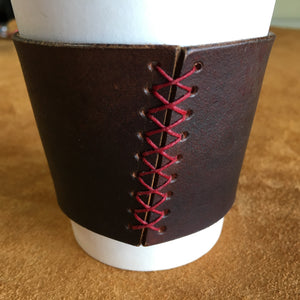 Leather Coffee Sleeve - Charlie's Brown with Red Thread