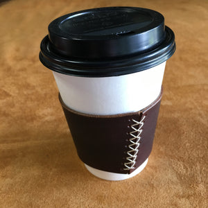 Leather Coffee Sleeve - Charlie's Brown with Natural Thread